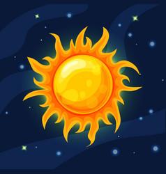 yellow and orange sun in deep dark blue vector image