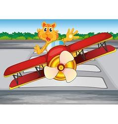 A boastful tiger riding a plane vector image vector image