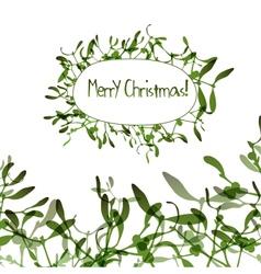 Christmas background with evergreen mistletoe vector image