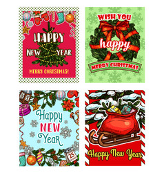 Christmas tree and new year gift sketch card vector