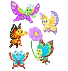 Cute butterfly cartoon collection set vector image vector image