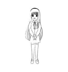 cute young girl anime or manga icon image vector image vector image