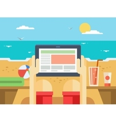 Digital tablet on beach vector image vector image