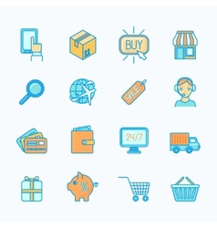 Shopping e-commerce icons set flat line vector