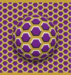ball with a hexagons pattern rolling along the vector image vector image