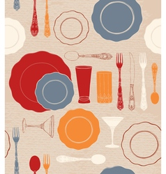 Different tableware Seamless pattern vector image vector image