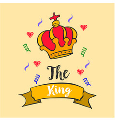 king red crown style doodles vector image vector image