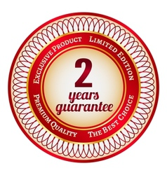 Label on 2 year guarantee vector image