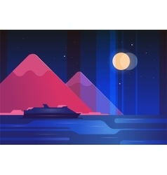 Mountains and boat night landscape - modern flat vector image