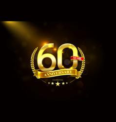 60 years anniversary with laurel wreath golden vector image vector image