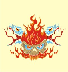 fire skull and snake vector image
