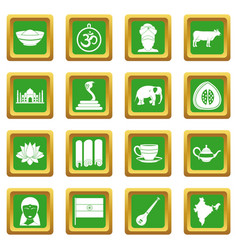 india travel icons set green vector image vector image