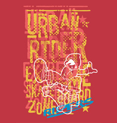 urban rider boy with skateboard vector image vector image