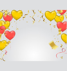 with gold and red balloons in the shape of heart vector image