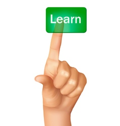 a finger pushing learn button vector image