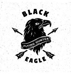 Black Eagle Hand drawn emblem vector image vector image