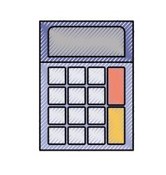 colored crayon silhouette of calculator icon vector image vector image