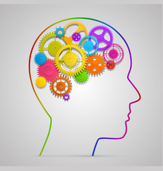 head with gears in brain vector image vector image
