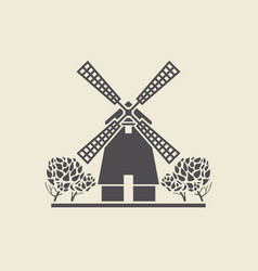 icon windmill with trees vector image vector image