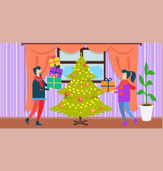 people at christmas at home vector image