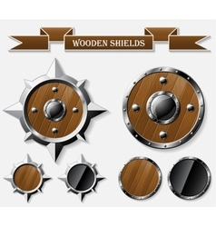 Set of realistic wooden shields isolated on grey vector image