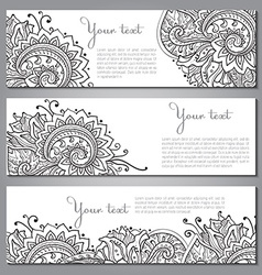 Three banners with beautiful monochrome floral vector image