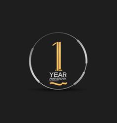 1 year golden anniversary logotype golden number vector
