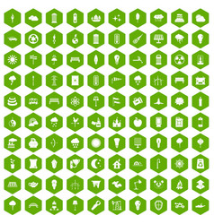 100 street lighting icons hexagon green vector