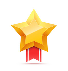 3d gold star and red ribbon victory icon vector