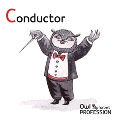 Alphabet professions owl letter c - conductor vector
