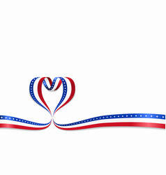American flag heart-shaped ribbon vector