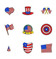 american states icons set cartoon style vector image