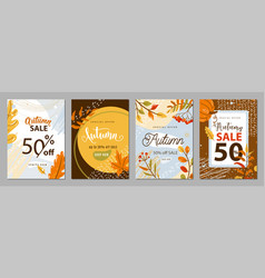 autumn sale poster set background autumn-time vector image