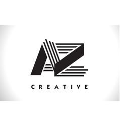 Az logo letter with black lines design line letter vector