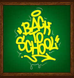 back to school tag graffiti style label lettering vector image