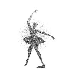 Ballerina girl silhouette made of black particles vector