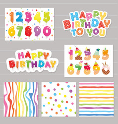 Birthday celebration set numbers and patterns vector