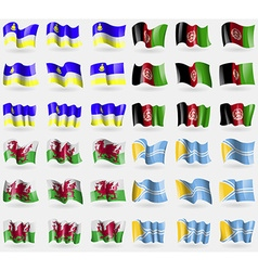 Buryatia Afghanistan Wales Tuva Set of 36 flags of vector