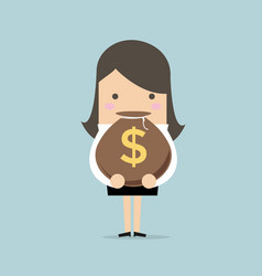 businesswoman holding a money bag with dollar sign vector image