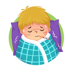 Cartoon boy having cold and fever vector