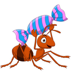 Cartoon funny ant carrying a candy vector