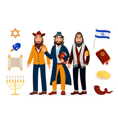 Cartoon jews characters icons collection isolated vector