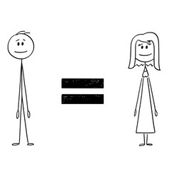 Cartoon man and woman and equal sign between vector