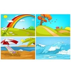 Cartoon set of landscapes backgrounds vector
