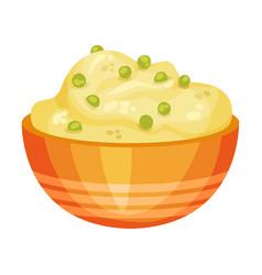 Ceramic bowl pumpkin porridge vector