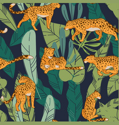 Cheetah or leopard with tropical flora pattern vector