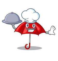 Chef with food red umbrella lit up cartoon shape vector