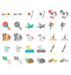 Children toy cartoonmonochrom icons in set vector