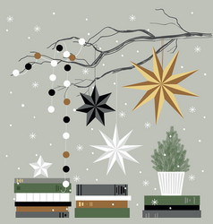 Christmas card with christmas tree books stars vector