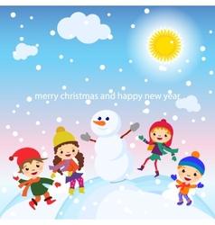 Christmas Greeting Card Kids Snow and Snowman vector image
